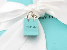 TIFFANY & CO SILVER BLUE ENAMEL SHOPPING BAG CHARM 4 NECKLACE BRACELET
