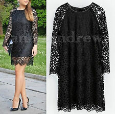 ZARA WOMAN BLACK LACE CROCHET DRESS WITH FAUX LEATHER NECKLINE SIZE S UK 8