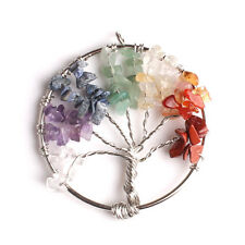 7 Chakra Healing Tree of Life Pendant Natural Crystal Quartz Gemstone ROUND