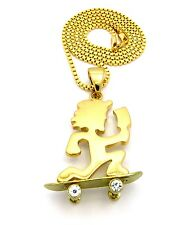 "MENS HIP HOP GOLD SKATEBOARDING HATCHET MAN PENDANT 3MM 30"" BOX CHAIN NECKLACE"