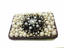 "Womens Belt Buckle Western Bronze Tone Pearl Embellishments 3.5"" x 2.5"""