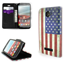 Wallet Flip Phone Cover Case for Alcatel One Touch Fierce 2 - American Flag