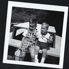 Vintage Antique Photograph Two Little Boys Sitting At Bench in Yard With Pail