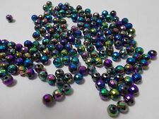 400pcs 6mm Acrylic Faceted Globe ROUND Beads - PURPLE IRIS Iridescent AB