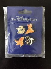 JAPAN BAMBI THUMPER FLOWER DISNEY STORE MINI 4 PIN SET ON CARD TOKYO JDS