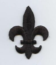 Iron On Embroidered Applique Patch MEDIUM Black Fleur De Lis Saints Religious