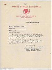 VINTAGE LETTER / PARTIDO POPULAR DEMOCRATICO / PONCE PUERTO RICO / 1964