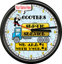 Stinky's Septic Tank Pumping Personalized Name Service Truck Sign Wall Clock