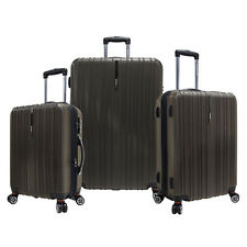 Traveler's Choice 3pc Tasmania Brown Polycarbonate Luggage Spinner Suitcase Set