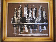 Vintage Morris Katz Oil Painting 1975. City Scape on Board. Black Grey. Framed.