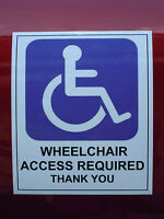 Wheelchair blue badge disabled mobility cling sign / sticker car window access
