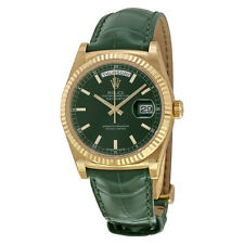 Rolex Day Date Green Dial 18K Yellow Gold Leather Mens Watch 118138GSL