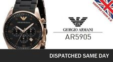 NEW EMPORIO ARMANI AR5905 ROSE BLACK & GOLD MENS SPORTIVO CHRONOGRAPH WATCH