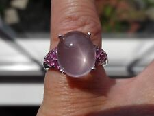 Plat/SSlvr 5.00tgw Genuine Galilea Rose Quartz, Ruby Ring Sizable 6