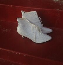 VTG Witch Boots Madonna White Lace Booties US SZ 8 Women's Shoe Glam New Wave