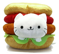 "San-X Nyanko Cat 10"" CLASSIC BURGER Nyanco Food Plush Art New Doll Soft RARE!"