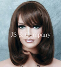 Human Hair Blend Wig Straight Face Framing Brown Auburn Heat OK Bangs 4-30 wma