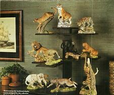 FRANKLIN MINT 12 HAND PAINTED PORCELAIN BIG CATS SCULPTURES BY ARTIST N WILSON