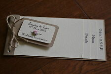 * Handmade cheque book wedding invitation SHABBY CHIC luggage tag VINTAGE rose *