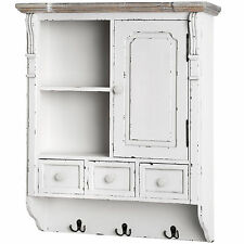 NEW ENGLAND WALL MOUNTED CUPBOARD WITH HOOKS