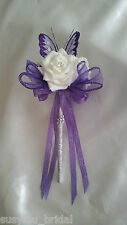 Wedding Flowers Bridesmaids Bouquet Ivory Purple Lilac Silver Butterfly Wand
