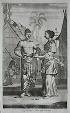 Original antique print, JAVANESE MAN & WOMAN, INDONESIA, Nieuhof, 1744