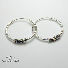 Solid 925 Sterling Silver Hoop Earrings Bali Design 18mm dia New with Gift Bag