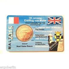 2 Euro Sondermünze Malta 2015 1.Flug von Malta  in Premium Coincard/Münzkarte