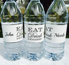 20 PERSONALIZED EAT Drink & BE MARRIED! WEDDING Waterproof WATER BOTTLE LABELS