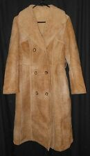 Vtg Women's Shearling Coat Fitted Long Coat Double Breasted Norm Thompson Sz 10