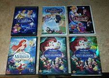 Cinderella Complete Trilogy 1 2 3 DVD Disney Movies & Little Mermaid /Aerial....