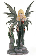 BLOND GOTHIC FAIRY WITH SMALL GREEN DRAGON FIGURINE