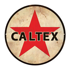 CALTEX  ROUND  TIN SIGN RUSTIC 35cm DIAMETER