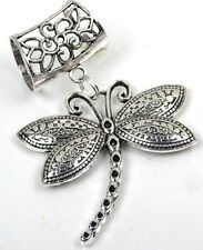Scarf Pendant Silver Pewter Dragonfly Slide