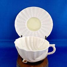 Vtg Irish Beleek Neptune Shell Tea Cup Saucer Ivory Porcelain Green Mark Ireland