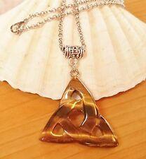 Protector Tigres Ojo Pendientes nudo celta talismán amuleto de plata bolsa Triniti