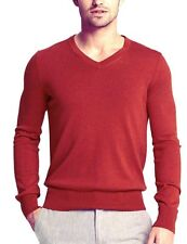 NWT Banana Republic Red Sweater V Neck Pullover XL Men Silk Cotton Cashmere Tall