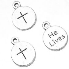 250pcs Antique Silver Tone Word Cross Carved Charms Alloy Round Shape Pendants J