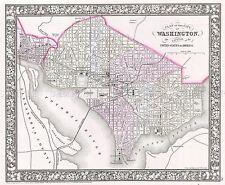 Mappa ANTICA 1866 Mitchell Washington DC CITY piano REPLICA poster stampa pam1871