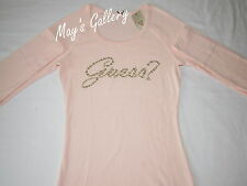 GUESS Jeans Rhinestones  Tank T-shirt Tee T shirt  Top Blouse Pink  Long NWT  XS