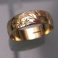 Women's Vintage 9ct Gold Patterned Wedding Band Weight 2.8g Stamped Size Q 1/2