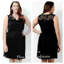 Simply Be Plus Size 20 Lovedrobe Black Sleeveless Lace Skater DRESS Party £45