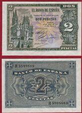 ESPAÑA 2 PESETAS año 1938. Serie H. Nº 3808669. Catedral de Burgos. PLANCHA.