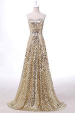 Glitter Abendkleider Ballkleider Partykleid Brautjungfernkleid Lang Gr:32 - 44 +