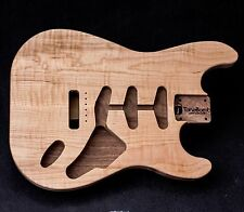 Flame Maple on Walnut Strat SSS Unfinished Thinline Stratocaster Guitar Body