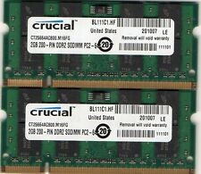 4GB 2x 2GB Kit Crucial HP Pavilion DV6000 Series DDR2 Laptop/Notebook RAM Memory