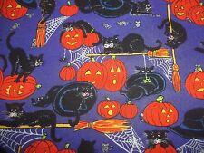 HALLOWEEn pumpkin black cat spirder Hat PURPLE Cotton quilt FABRIC * 1 yd