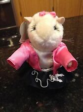 Gemmy Dancing Singing Hamster Bobby Soxer girl in pink poodle dress plush