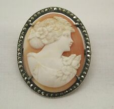 Charming Vintage Silver Marcasite Mounted Carved Cameo Brooch
