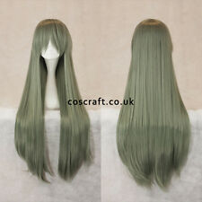 80cm long straight cosplay wig with fringe in slate green, UK SELLER, Alex